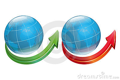 Globe symbol with arrow-vector file added