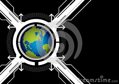 Globe and technology background