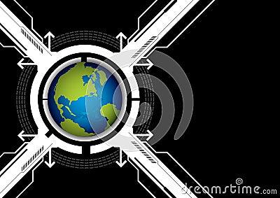 Globe and technology background