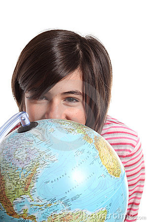 Globe and teenager on white