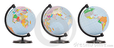 The globe in three positions