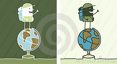 Globe trotter colored cartoon