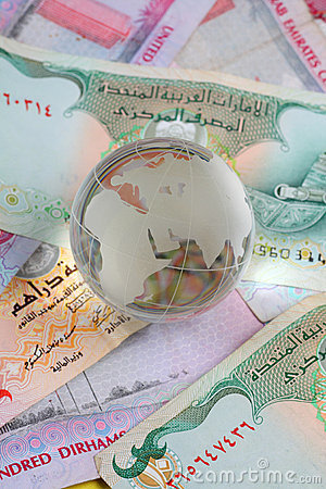 Globe on uae currency dirham notes