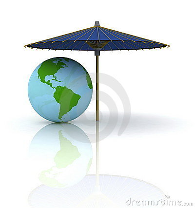 Globe under an umbrella