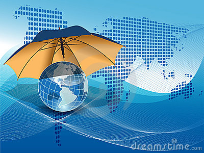 Globe under the umbrella
