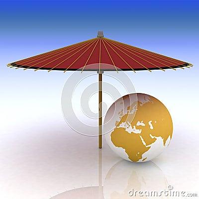 Globe under an umbrella