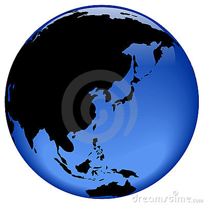 Globe view - Far East Asia