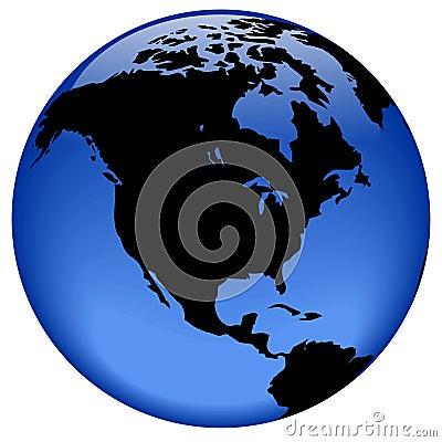 Globe view - North America