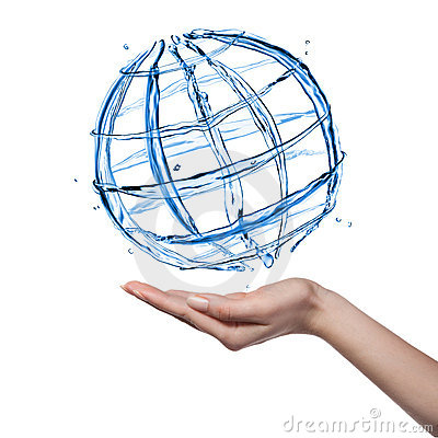 Globe from water with human hand isolated