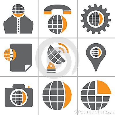 Globe web icon set