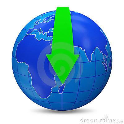 Free Globe With Download Arrow On White Background (Dow Royalty Free Stock Image - 22658756