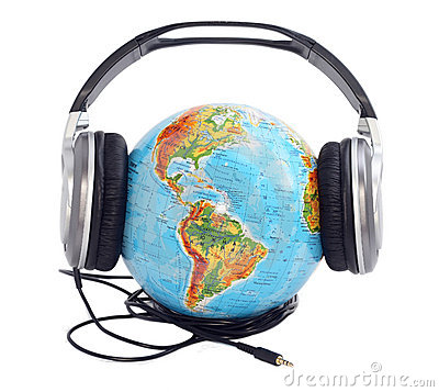 Free Globe With Headphones Royalty Free Stock Photo - 12937705