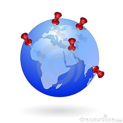 Free Globe With Push Pins Upon Stock Images - 13927144