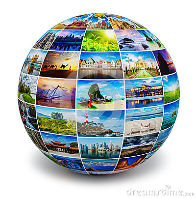 Free Globe With Travel Photos Royalty Free Stock Image - 52784986