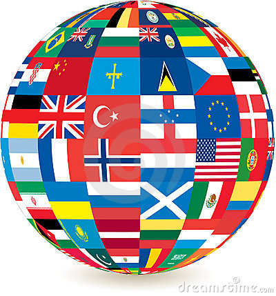 Globe of world countries  flags