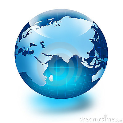 Globe of the World. Europe and Africa