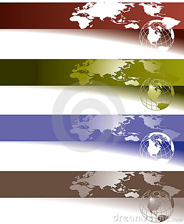 Globe and world map banners