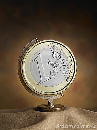 Globe, world map with euro coin