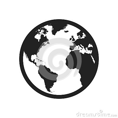 Globe world map vector icon. Round earth flat vector illustration. Planet business concept pictogram on white background. Vector Illustration
