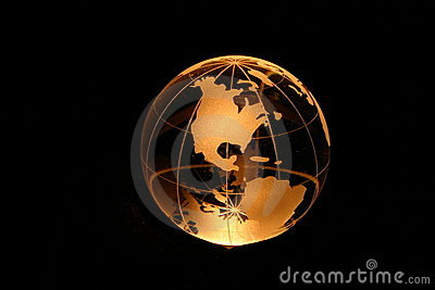 Globe in yellow light