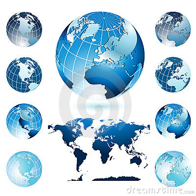 Free Globes And World Map Royalty Free Stock Images - 9807009