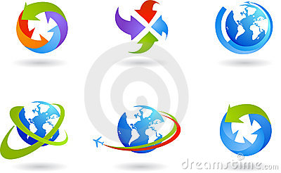 Globes and global business icon set