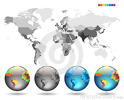 Globes on gray detailed map