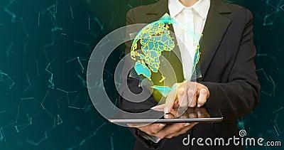 Globo abstrato com partículas e estrutura do plexo Planeta da tecnologia de Digitas com formação do continente triangulated vídeos de arquivo