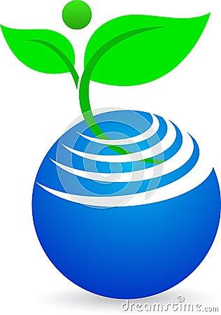 Globo abstrato com planta
