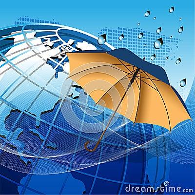 Globo bajo el paraguas