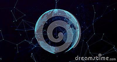 globo blu del pianeta Terra della rappresentazione digitale 3d, con il punto di collegamento di incandescenza, globalizzazione di illustrazione di stock