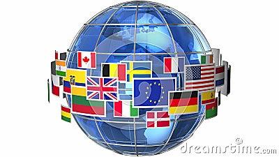 Globo della terra con le bandiere del mondo
