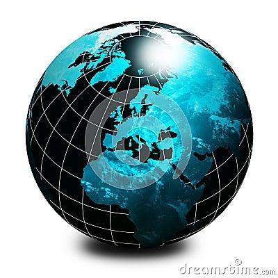 Globo negro del mundo