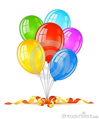 Globos coloreados para la celebración del día de fiesta del cumpleaños