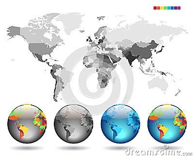 Globos no mapa detalhado cinzento