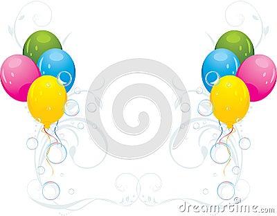 Globos y burbujas coloridos. Composición festiva
