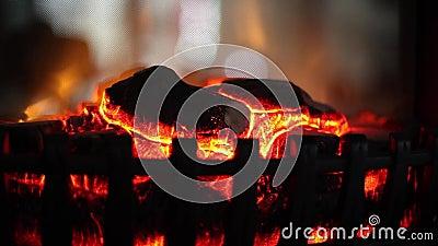 Gloeiende brand in een open haard Zachte nadruk Mooie elektrische open haard Binnenlands ontwerpconcept Zachte nadruk stock video