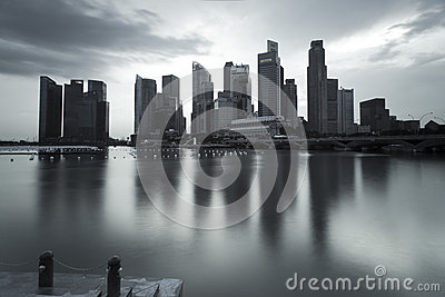 Gloomy picture of Singapore landscape Editorial Stock Image