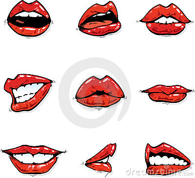 Gloosy red lips collection in various expressions