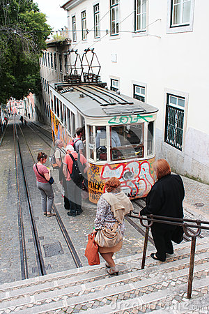 Gloria funicular May 7, 2013 in Lisbon, Portugal. Editorial Stock Image