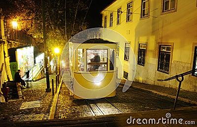 Gloria Tram at Night - Lisbon Typical Streetcars