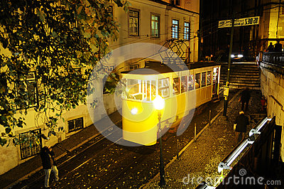 Gloria Tram at Night Editorial Image