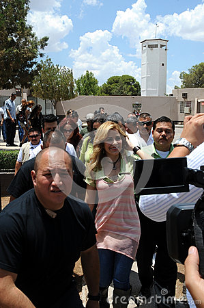 Gloria Trevi entering prision to visit. Editorial Stock Photo