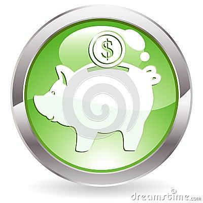 Gloss Button with piggy bank