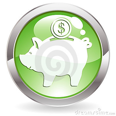 Free Gloss Button With Piggy Bank Stock Photos - 14381133