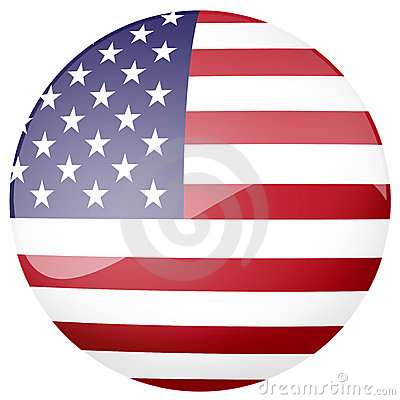 Glossy American flag button