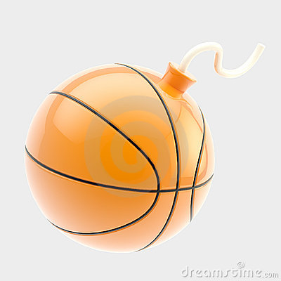 Glossy basketball ball as a bomb isolated