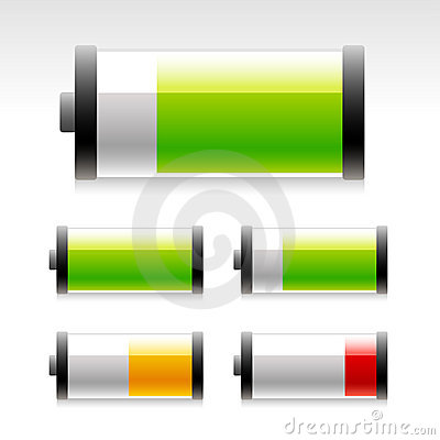 Glossy battery icons.