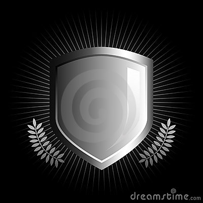 Free Glossy Black And White Shield Emblem Royalty Free Stock Photo - 4706745