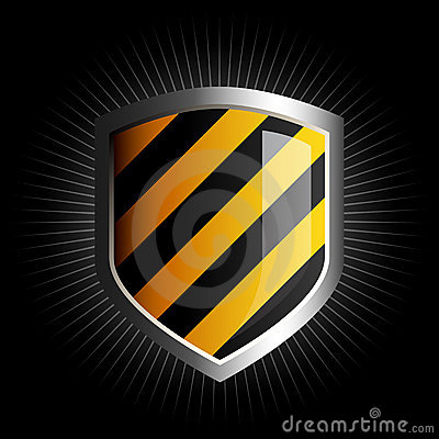 Free Glossy Black And Yellow Shield Emblem Royalty Free Stock Photo - 5539325